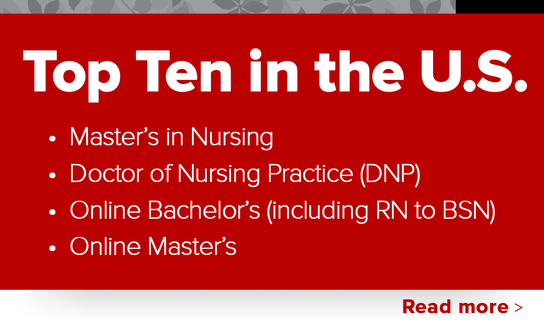 Top ten in the U.S. - Master's in Nursing, Doctor of Nursing Practice (DNP), Online bachelor's (including RN to BSN), online Master's
