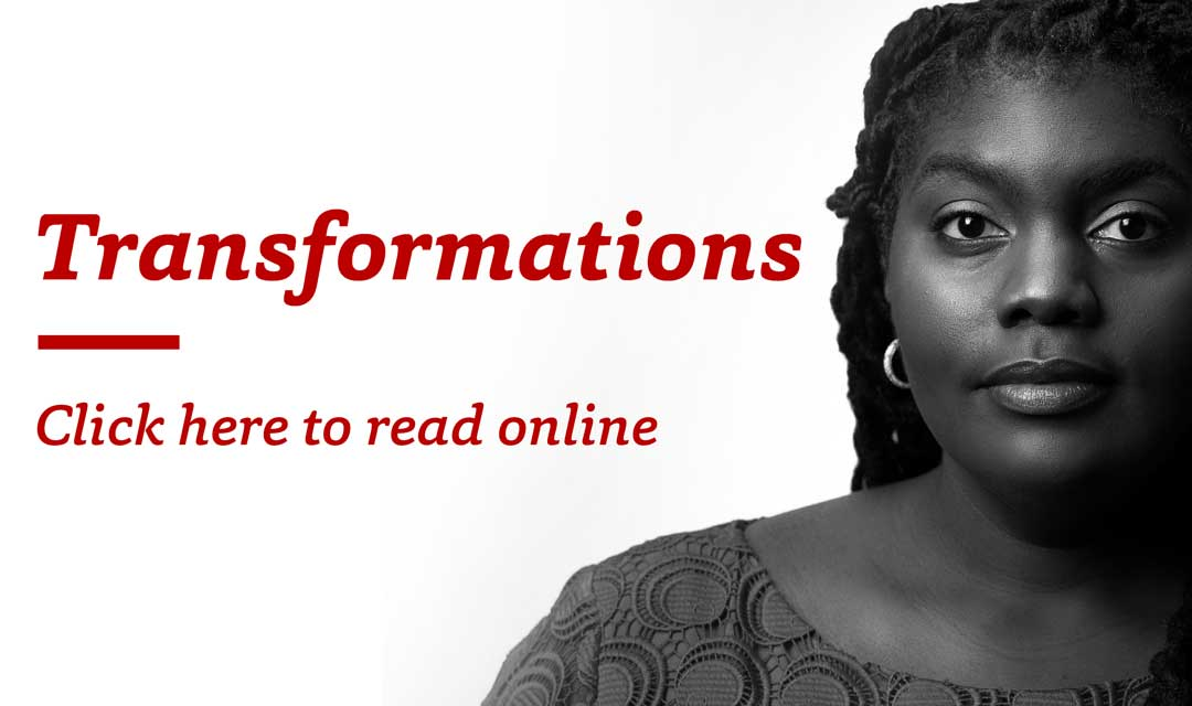 "black and white portrait of Timiya Nolan with the text ""Transformations – Click here to read online"""
