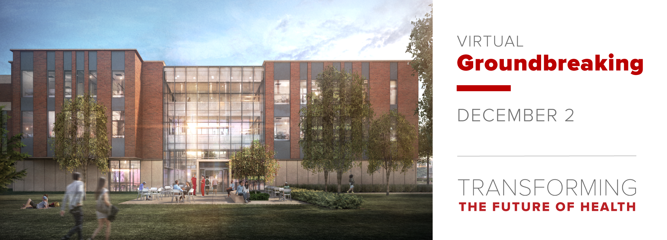 rendering of Newton Hall Addition | Virtual Groundbreaking | December 2 | Transforming the Future of Health