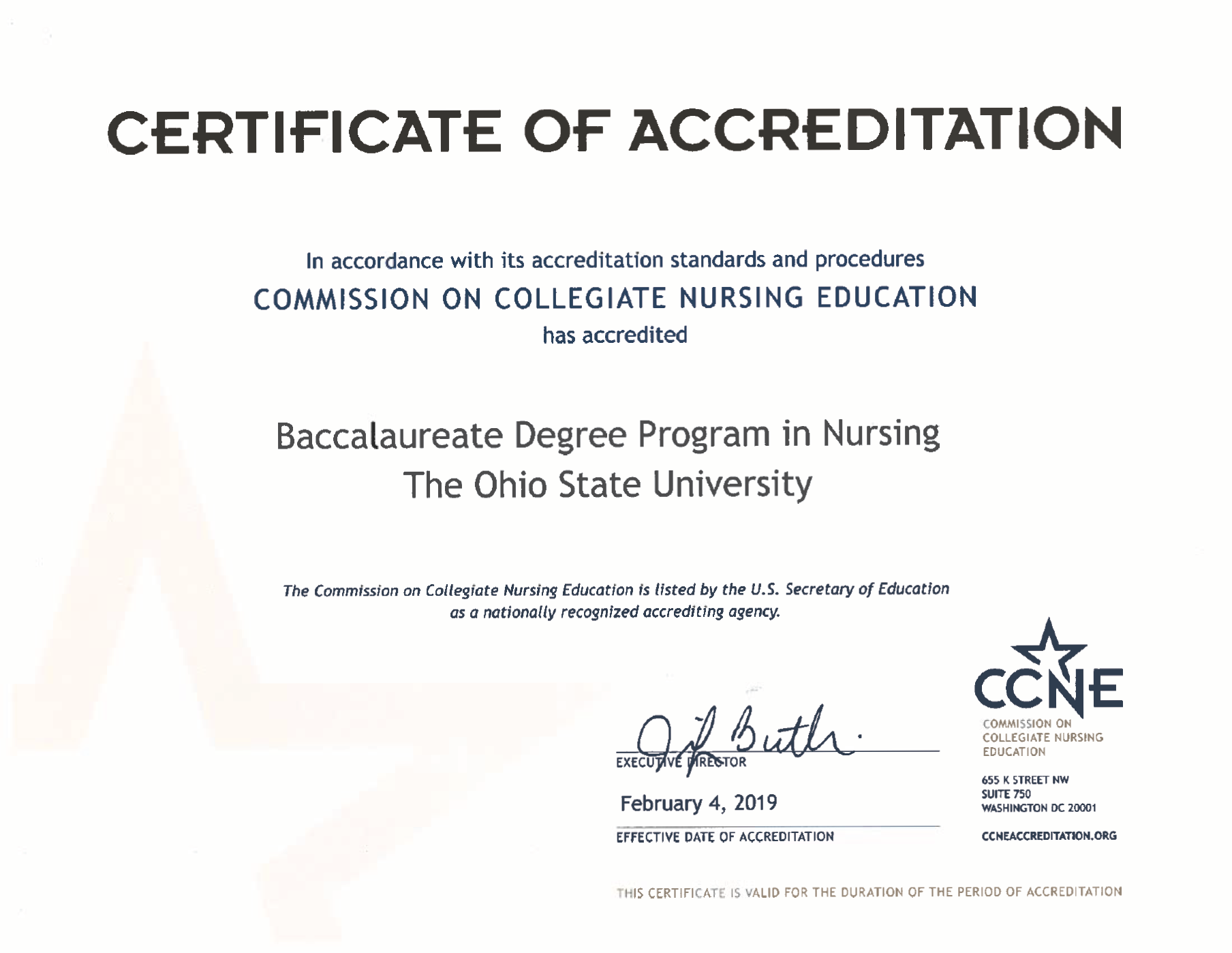 Baccalaureate Accreditation Certificate