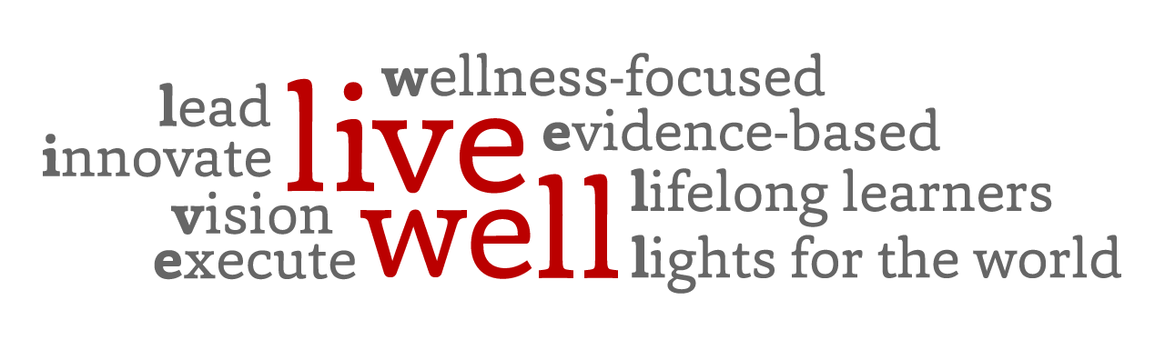 LIVE WELL: Lead, Innovate, Vision, Execute, Wellness-focused, Evidence-based, Lifelong learners, Lights for the world
