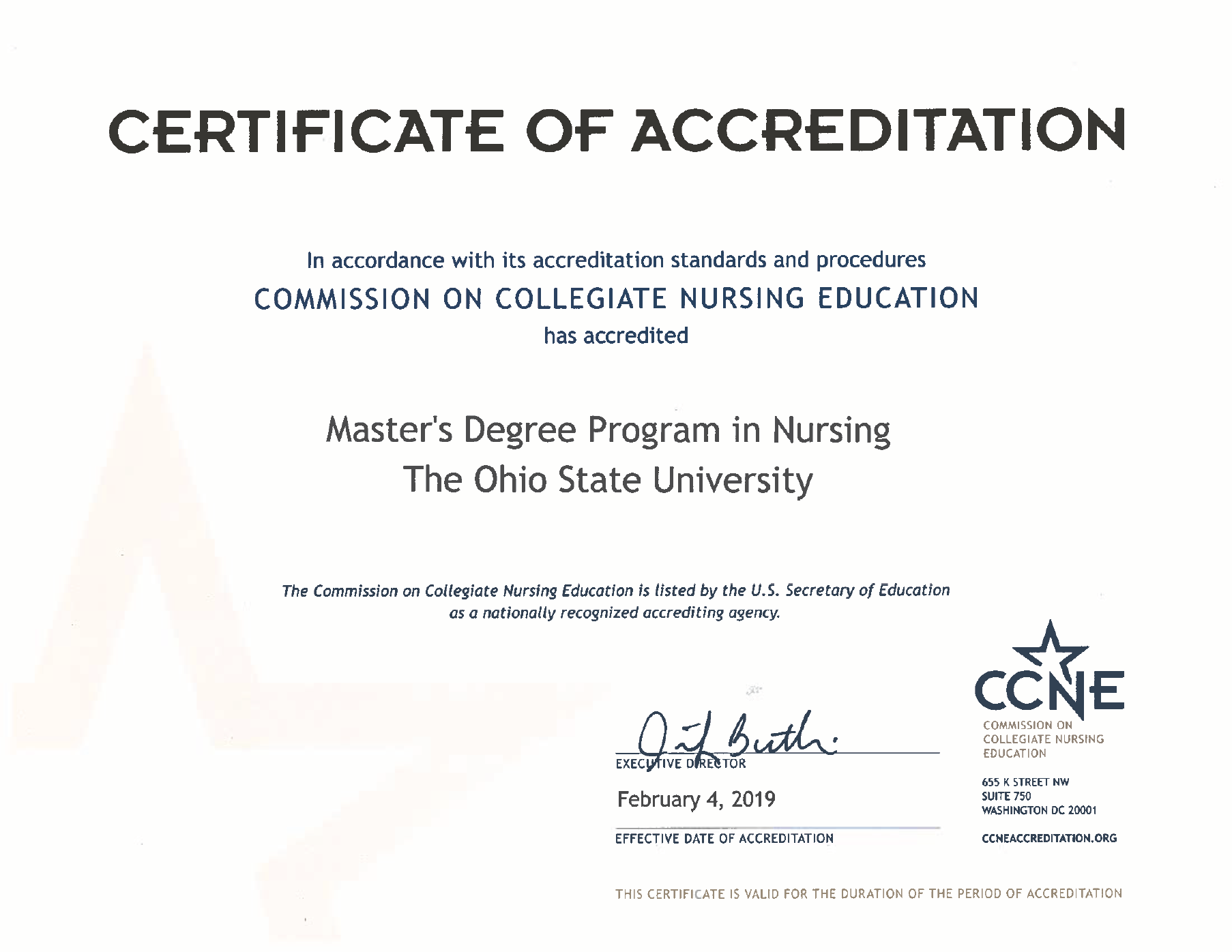 Master's Accreditation Certificate