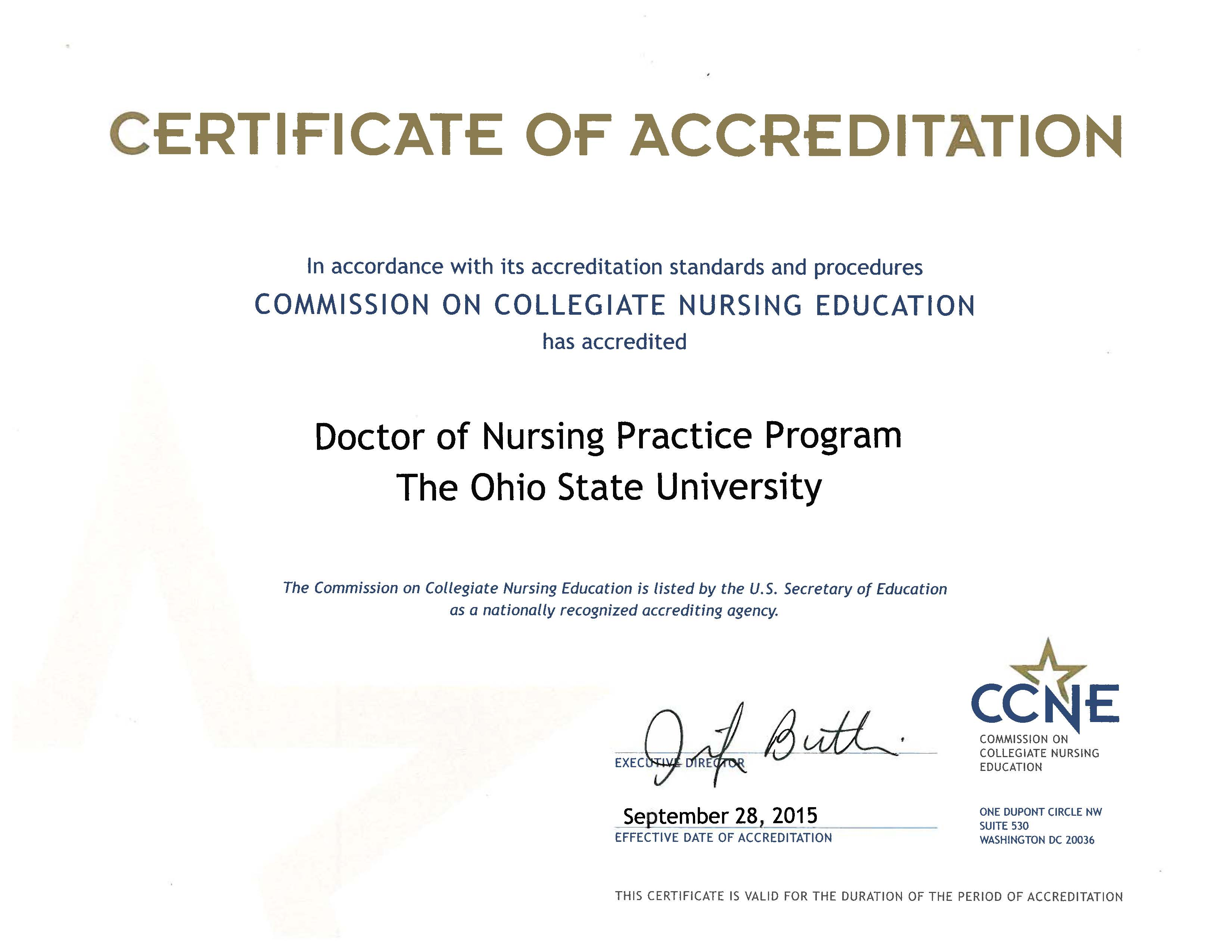 DNP Accreditation Certificate
