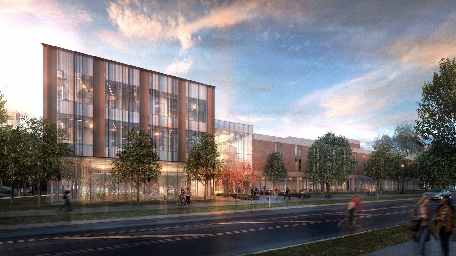 rendering of Newton Hall addition