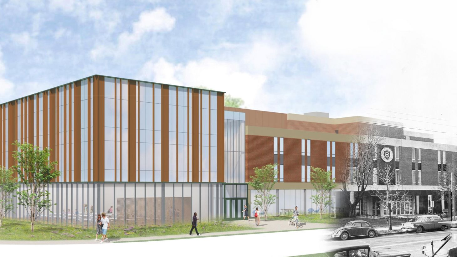 rendering of Newton Hall addition blended with vintage photo
