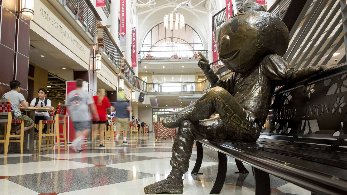 statue of Brutus sitting on a bench in the Ohio Union