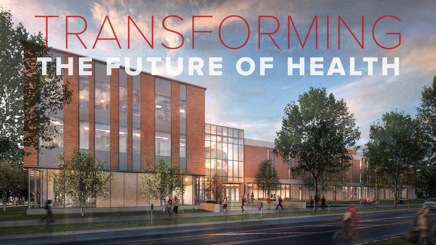 rendering of Newton Hall addition with Transforming the Future of Health overlaid