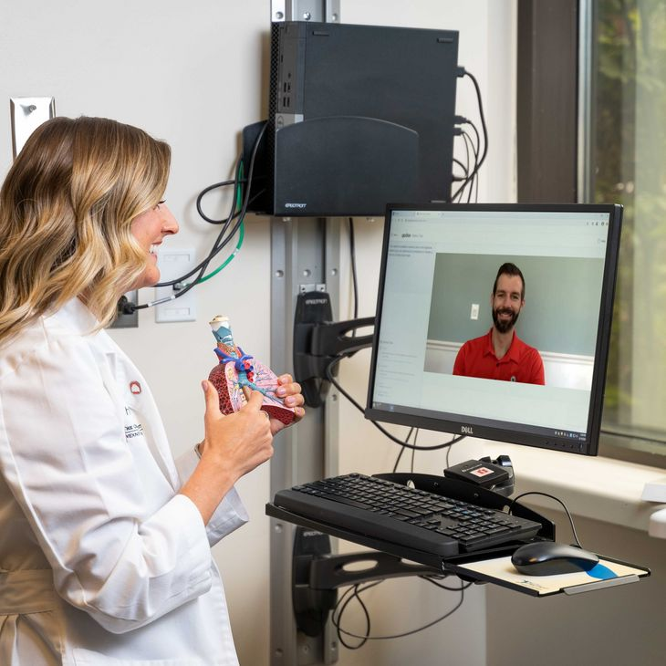 physician performing telehealth visit with patient