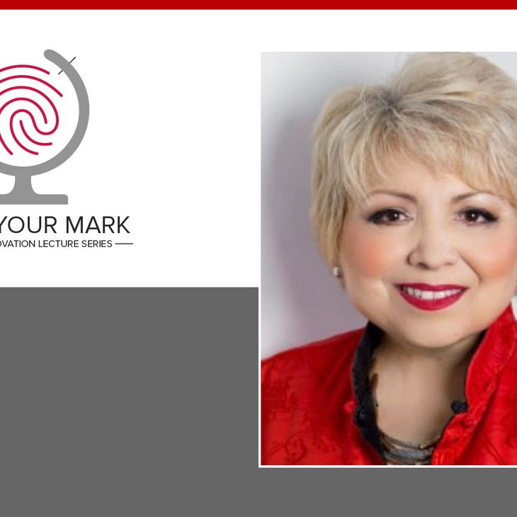 portrait of Irena Yashin-Shaw with Make Your Mark Global Innovation Lecture Series graphic